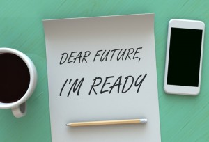 Dear Future Im Ready, message on paper, smart phone and coffee o